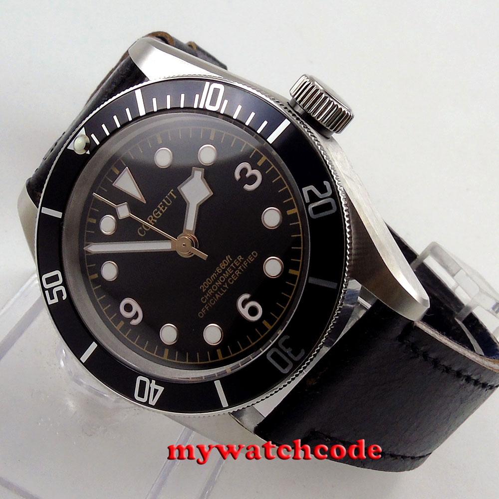 41mm corgeut black dial black bezel Sapphire Glass miyota automatic mens Watch73 polisehd 41mm corgeut black dial sapphire glass miyota automatic mens watch c102