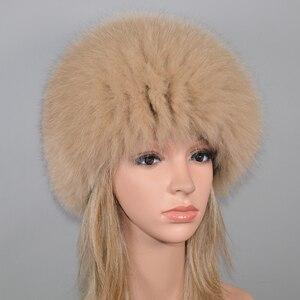 Image 5 - Kadınlar kış doğal gerçek tilki kürk şapka elastik sıcak yumuşak kabarık hakiki tilki kürk kap lüks kaliteli gerçek tilki kürk bombacı şapkalar