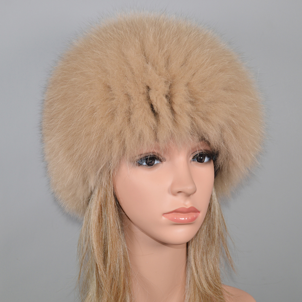 Image 5 - Women Winter Natural Real Fox Fur Hat Elastic Warm Soft Fluffy Genuine Fox Fur Cap Luxurious Quality Real Fox Fur Bomber Hats-in Women's Bomber Hats from Apparel Accessories