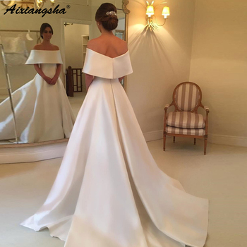 Elegant Strapless A-line Off the Shoulder Satin Vintage Simple Ivory Bride Dress 2019 Boho Wedding Dress