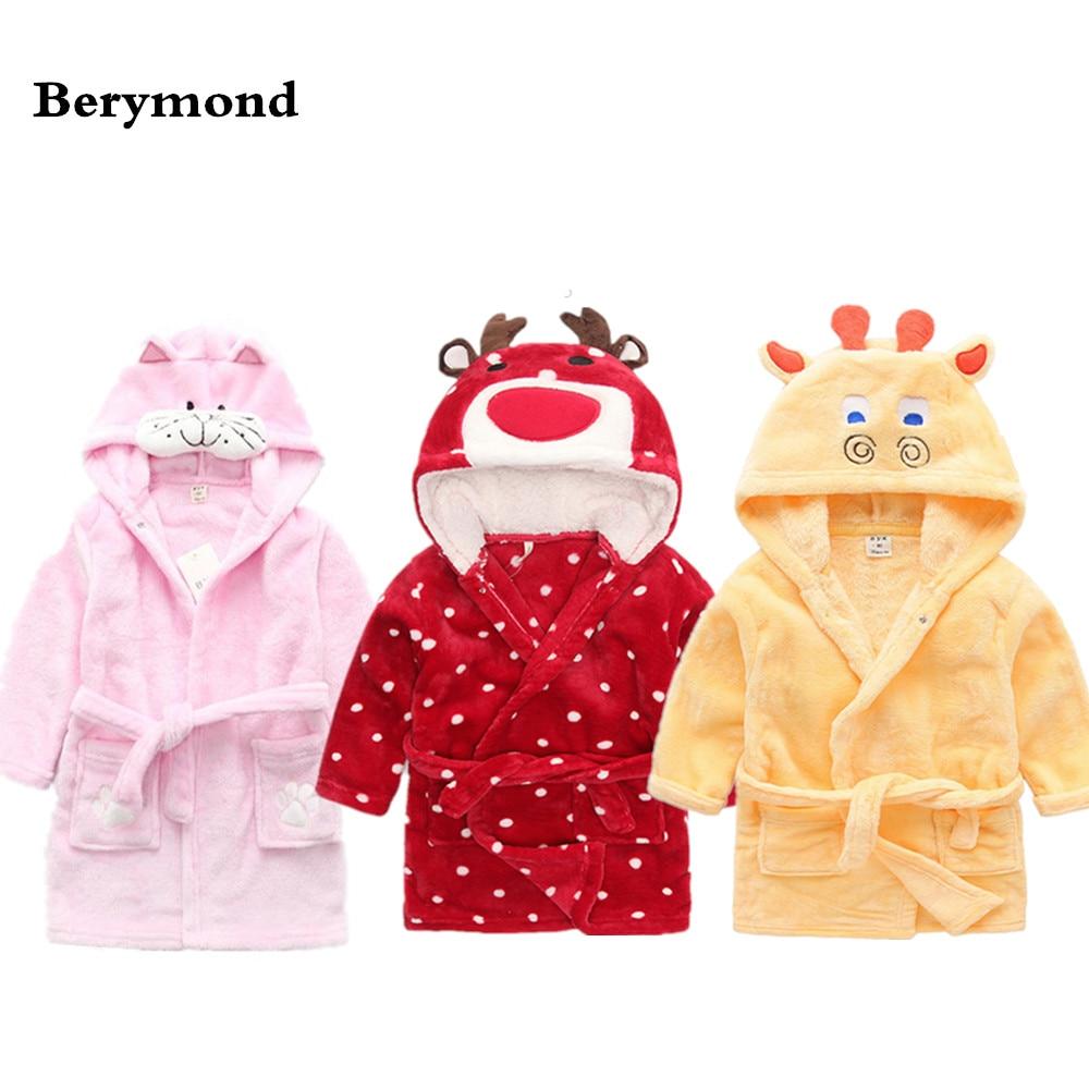 Children Robes Baby Girls Boys Velvet Bath Robes Pajamas Kids Coral Material Bath Coat Pajamas Dress Children Bathing Robes
