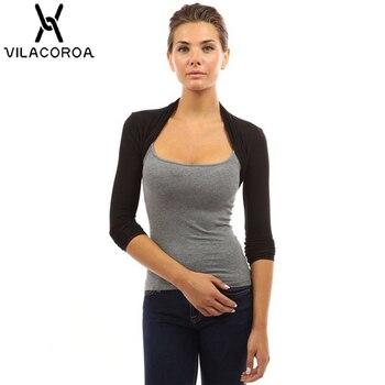 Для женщин с длинным рукавом Болеро Повседневное Белый с длинным рукавом Открыть стежка женская верхняя одежда пальто >> Vilacoroa Store