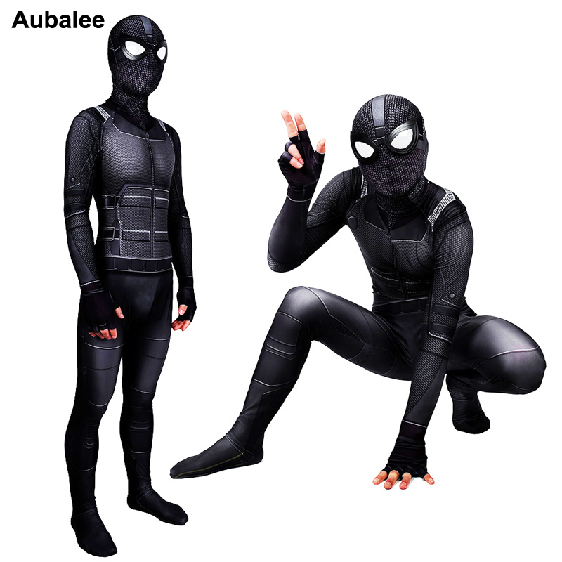Spider Man Far From Home Stealth Suit Adult Child Black Spiderman Cosplay Costume Spandex 3D Print Halloween Outfits