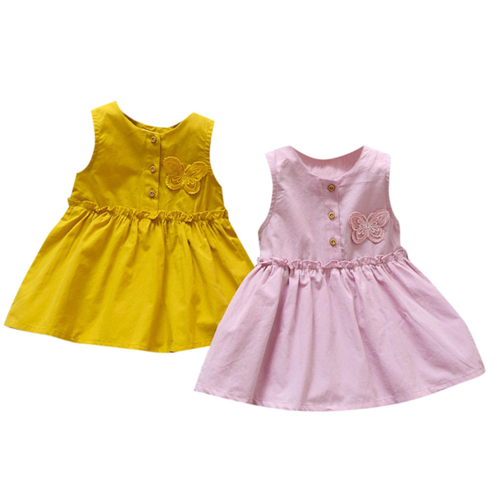 US $4.4 4% OFFSummer Baby Girl Dress Solid And Butterfly Newborn Infant  Dress For Girls Beautiful And Fashion Kids Baby Girl FrocksDresses -
