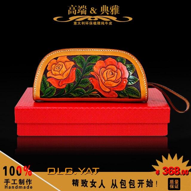 Correos de hong kong olg. YAT talla hechos a mano bolso de cuero para objeto paquete italia pura de vaca bolso Retro bolso de la muñeca