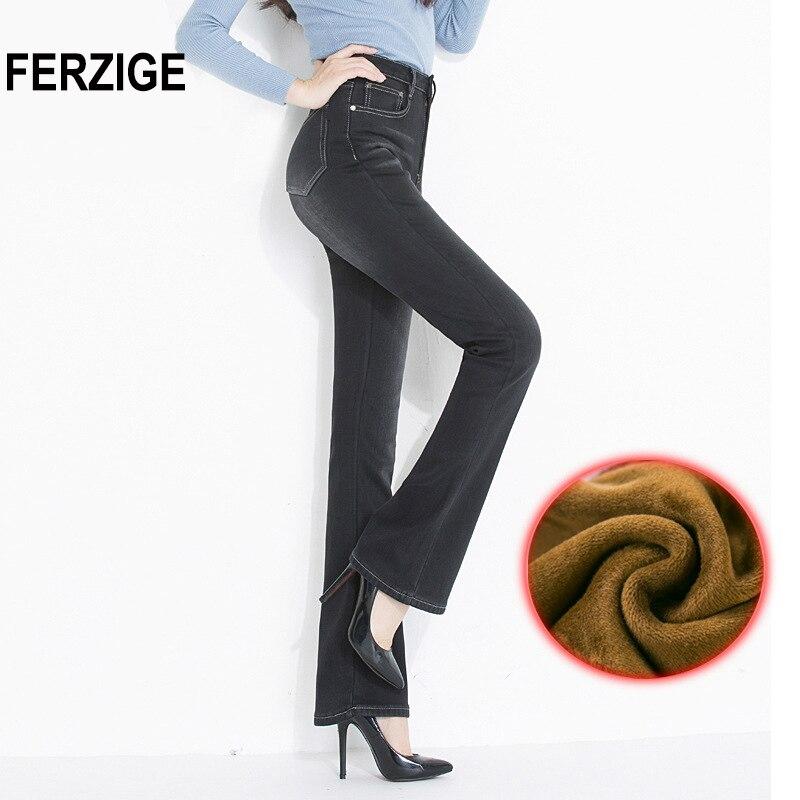FERZIGE Jeans Woman Flare Pants Winter Thicken Warmer Fleece High Waist Black Stretch Mom Jeans Women