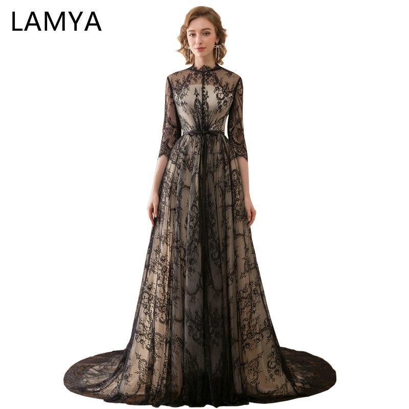 Lamya Black A Line Prom Dresses O Neck Three Quarter Sleeve Prom ...