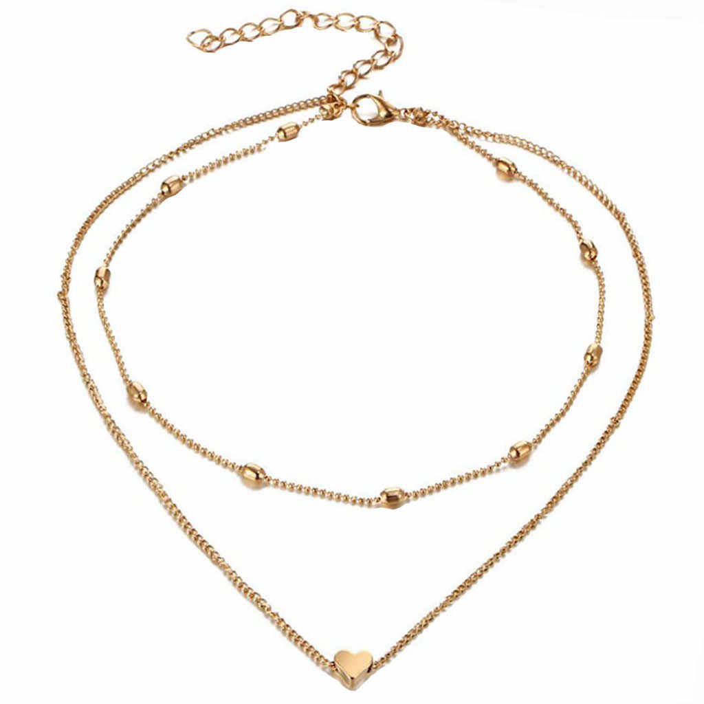 Simple Necklace Double Horn Pendant Heart Necklace Gold Dot Necklace Women Phase Heart Necklace Drop shipping @3