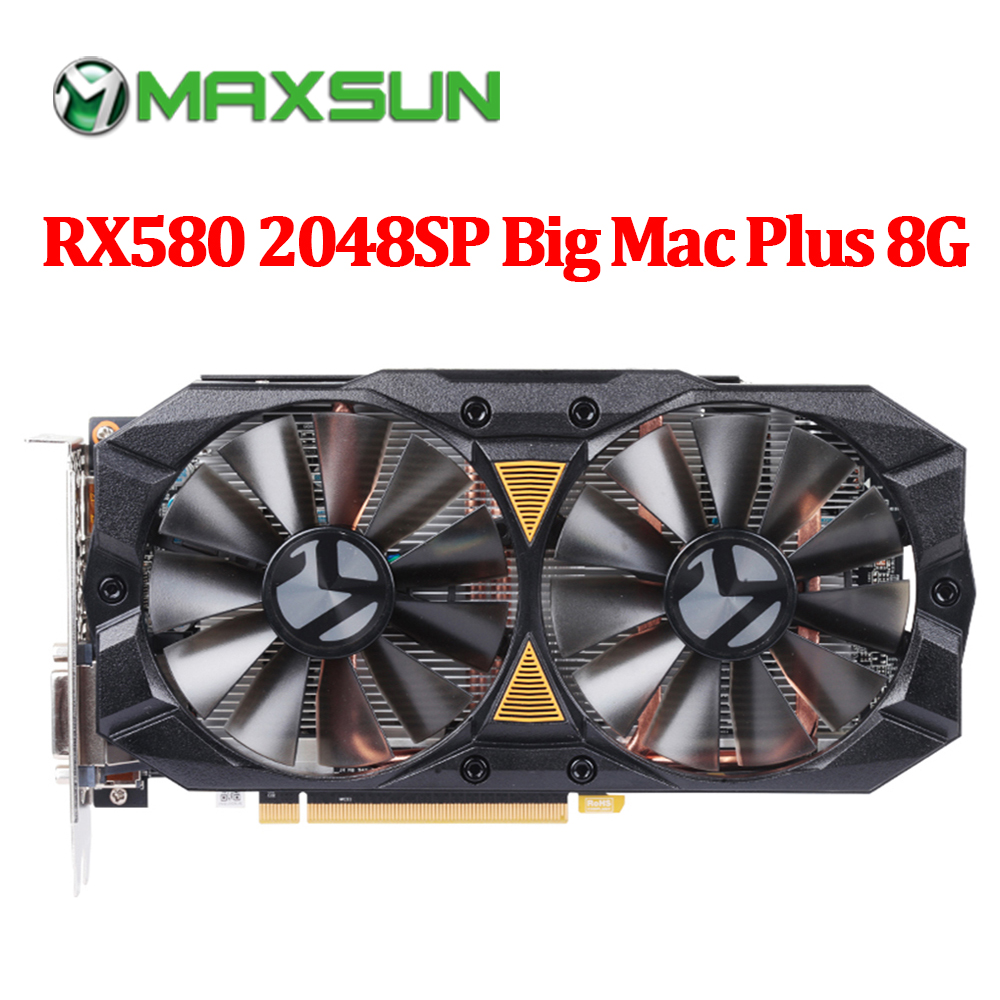 MAXSUN graphic card PC rx 580 2048SP Big Mac Plus 8G AMD GDDR5 256bit 7000MHz 1168MHz