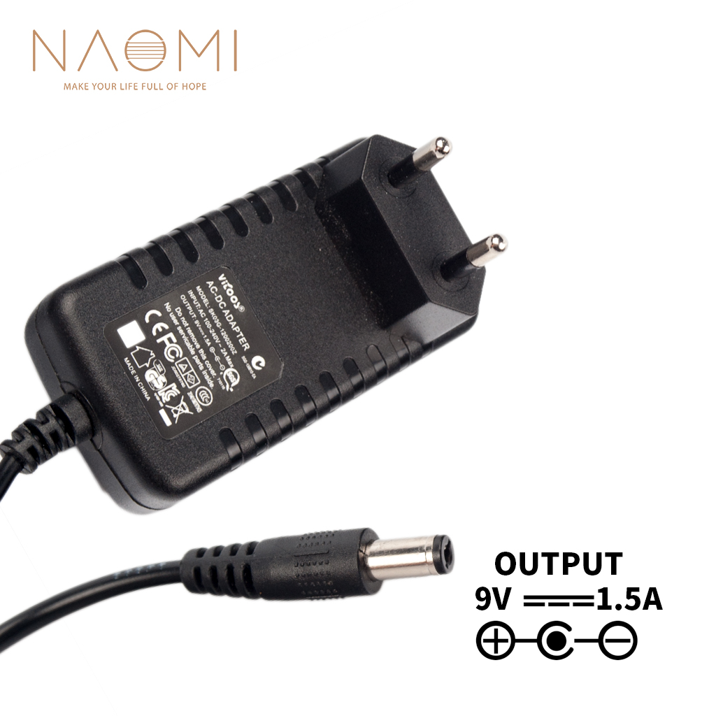 NAOMI Power Supply Charger 9V 1 5A EU Power Supply Adapter Charger Black For Guitar Effects