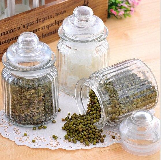 1PC Glass Bottles Flower Tea Food Storage Bottles Sealed Cans Glass Storage Jars JR 1099
