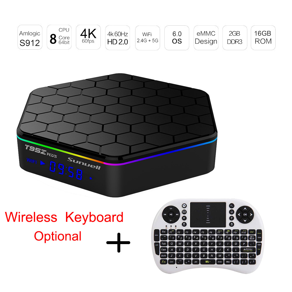 Prix pour Sunvell T95Z Plus TV Box Android 6.0 Amlogic S912 Octa Core 4 K x 2 K 2.4G + 5G WiFi Smart Set Top BOX Media Player 2G 16G PK X92 X96