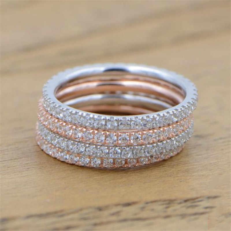 ของแท้ Eternity แหวน 925 เงินสเตอร์ลิง Micro Pave AAAAA Cubic Zirconia Charm แหวนแต่งงานแหวนเครื่องประดับนิ้วมือ
