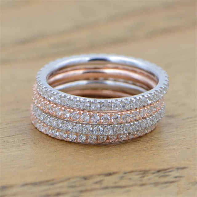 Genuine Eternity ring 925 Sterling silver Micro pave AAAAA Cubic Zirconia Charm Wedding Band Rings for women Finger Jewelry