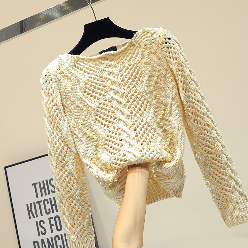 2018 Spring Autumn Women Fashion Pearl Beaded Sweater Ladies Hollow Out Long Sleeve Pullover Sweaters Girls Knit Coat Jackets