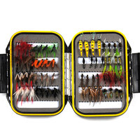 64PCS Dry & Wet Nymph Fly With Waterproof Fly Box Trout Fishing flys Fishing Tackle Bait Mayfly Scud Pupa Peacock Prince Inside