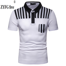 ZYFG free men polo contrast color striped short-sleeved Polo shirt pocket decoration spring and summer male clothing