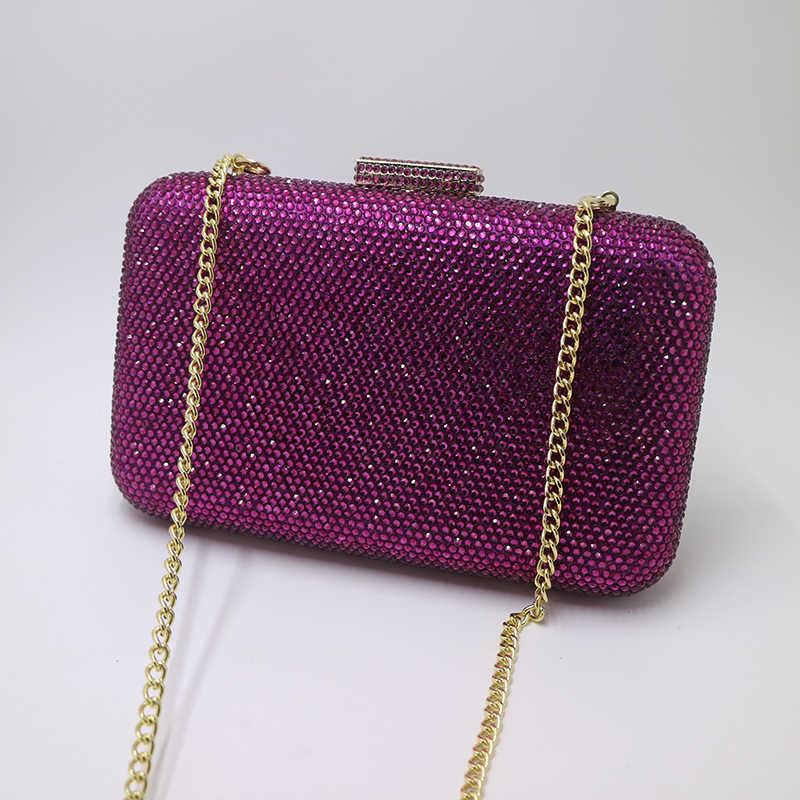 Королевский Nightingales большой жесткий коробка кристаллы клатч кошелек вечерние сумки красные, черные фиолетовый темно синий белый серебристый