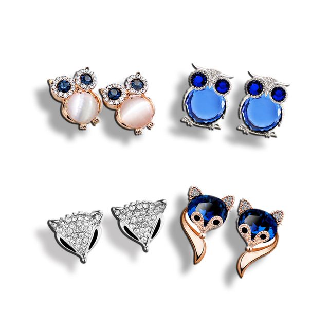 DuoTang Fashion Blue Crystal Fox Stud Earrings Rose Gold Color And Silver  Color Rhinestone Animal Earrings Jewelry Women Gift 82144a001d4d