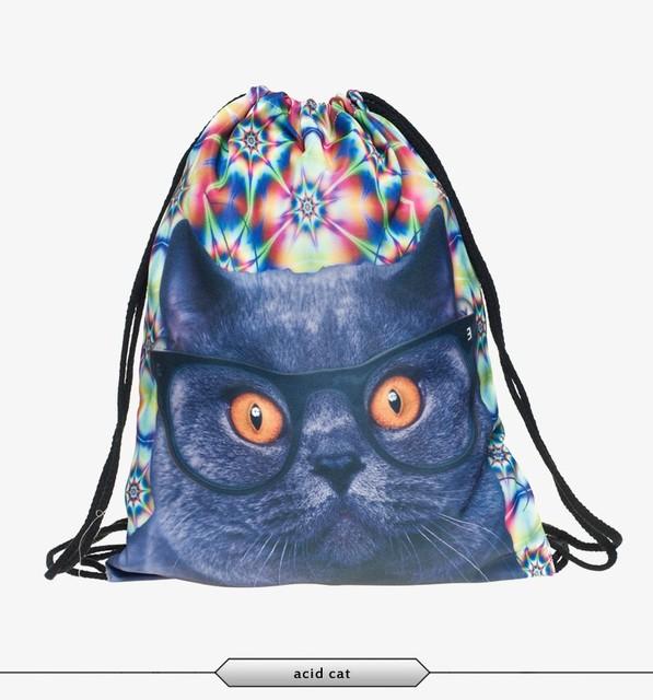 Cat escape 3D print drawstring bag