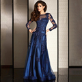 Azul marino Vestido de Noche Elegante Atractivo 2017 Sheer Cuello Apliques Cuello Barco Mangas Largas Vestidos de Baile Vestidos Del Partido de Largo 5231648