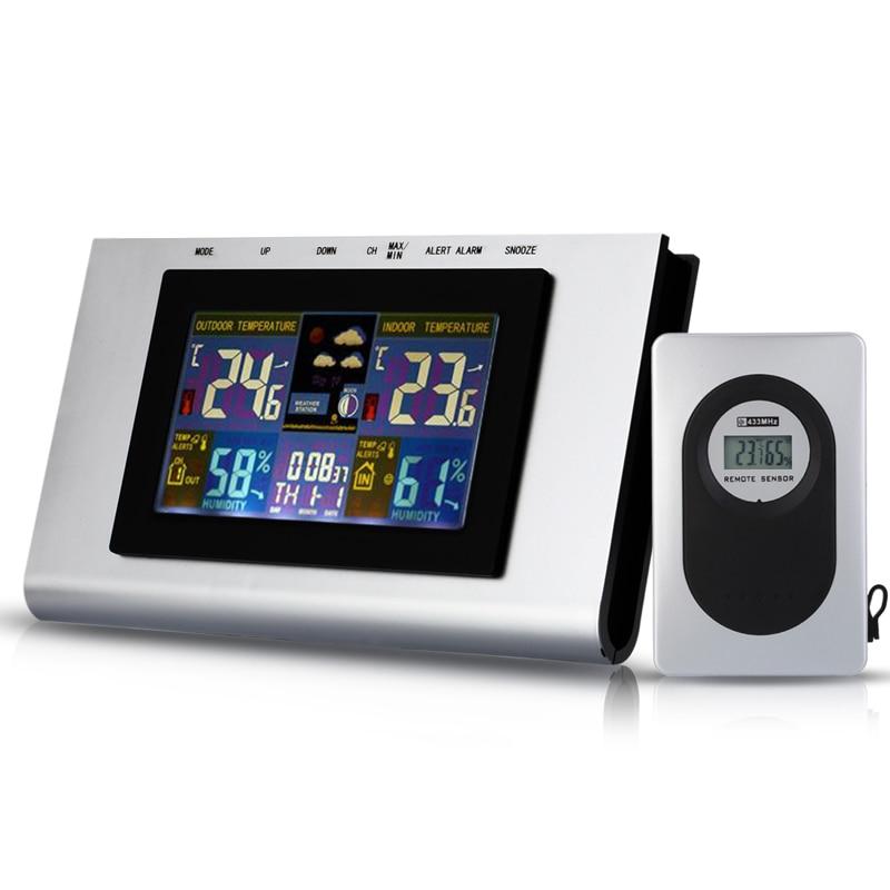 433MHz  Wireless Electronic Weather Station Thermometer MoistureMeter Alarm Clock Barometer Hygrometer Calendar Weather Forecast  цены