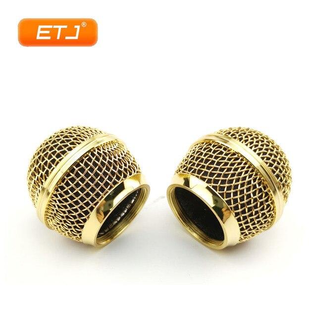ขัดทอง2Pcs SM58s/Beta58ตาข่ายGrille BallบอลโลหะสำหรับShureไมโครโฟนอุปกรณ์เสริม