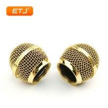 Ouro polido 2 pces sm58s/beta58 malha grade bola de metal para shure microfone acessórios
