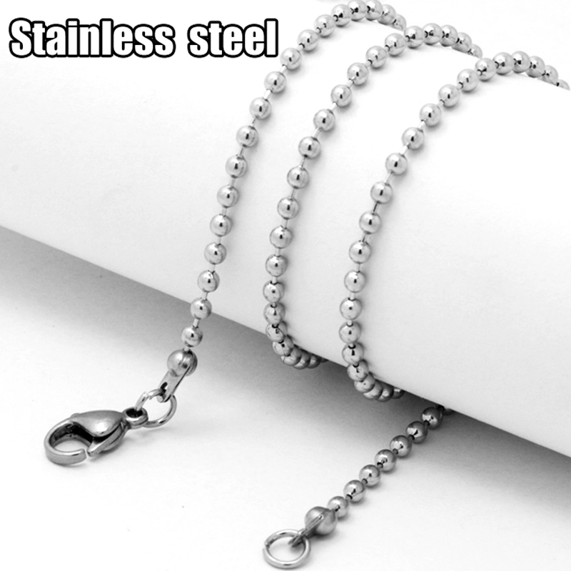 2pcs Wholesale 45/50/55CM Stainless Steel Ball/Round Bead Chains With Connected Lobster Clasp Jewelry Settings For DIY Necklace