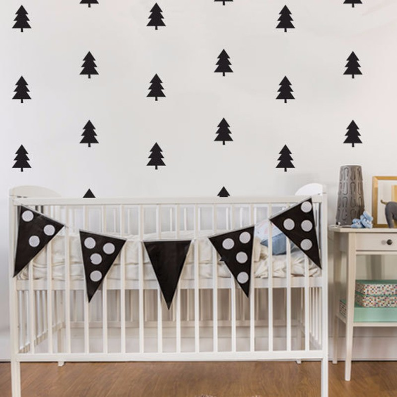 50pcs/pack Pine Tree Wall Decal, Vinyl Wall Sticker Childrens Wall Stickers Nurery Kids Room Mural Christmas Home Decor D961 ...