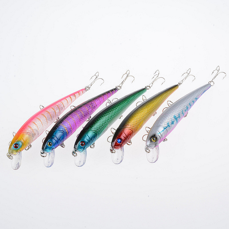 5Pcs Lot 12 5cm 17g Suspend Minnow Fishing Baits Lure Crankbait Sea Fishing Tackle Plastic Fish Bass Wobblers For Fishing in Fishing Lures from Sports Entertainment
