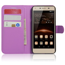 Litchi Texture Flip Leather Cover Case for Huawei Y5 II Magnetic Protective Shell Wallet Style Phone Case for Huawei Y6 Elite