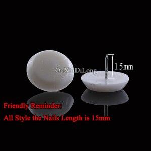 500 Teile/los Weiß Nylon Möbel Stuhl Tisch Kabinett Bein Füße Unten Protector Anti-rutsch-pads Möbelfüße Glide Nägel
