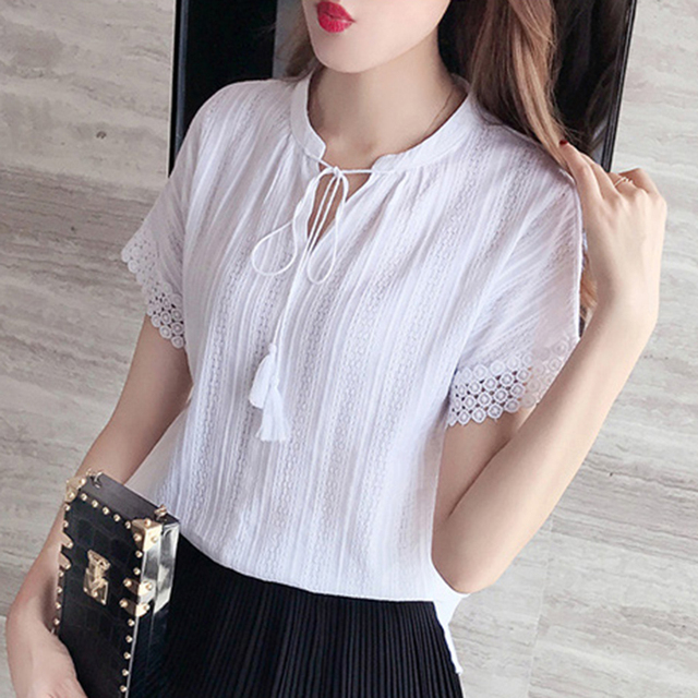 1cded9a65c9a9 100% Cotton Summer Blouses Women 2019 Short Sleeve Lace Hollow Out Shirt  White Korean Ladies Tops Female Blusas Pink Blue B213