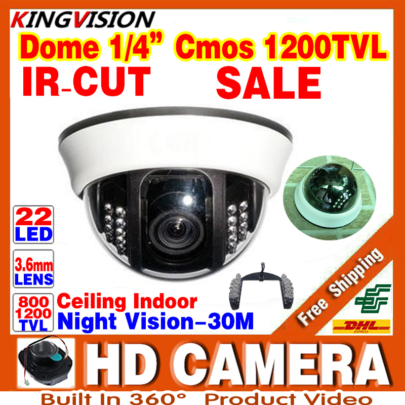 HD Real 1/3cmos 1200TVL Cctv Analog Camera Security Surveillance Indoor DOME 22LEDs Infrared IRCUT Night Vision Color Home Video hd 1200tvl cmos ir camera dome infrared plastic indoor ir dome cctv camera night vision ir cut analog camera security video cam