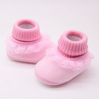 Lovely Newborn Baby Girls Shoes Winter Warm First Walkers Infant Baby Anti-slip Shoes  Newborn Girls Booties Baby's First Walkers