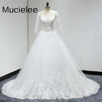 Vestido De Noiva Princesa Plus Size Real Photo Three Quarters Bridal Gown See Through Back Lace