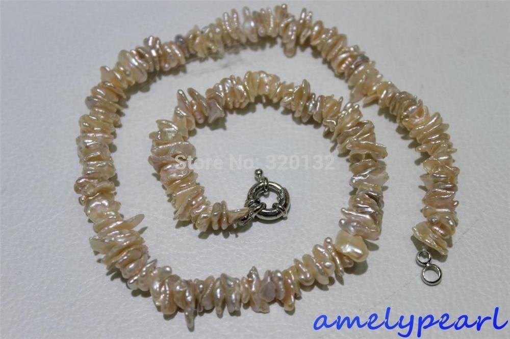 LIVRAISON GRATUITE >>>@@> naturel rose keshi reborn perle d'eau douce collier de perles 10-14mm 17 POUCES