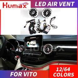 Dla V klasy V260 led odpowietrznik 2 / 4 sztuk kryty LED wylot powietrza z oświetlenie otoczenia 12 64 kolory nastrojowe oświetlenie