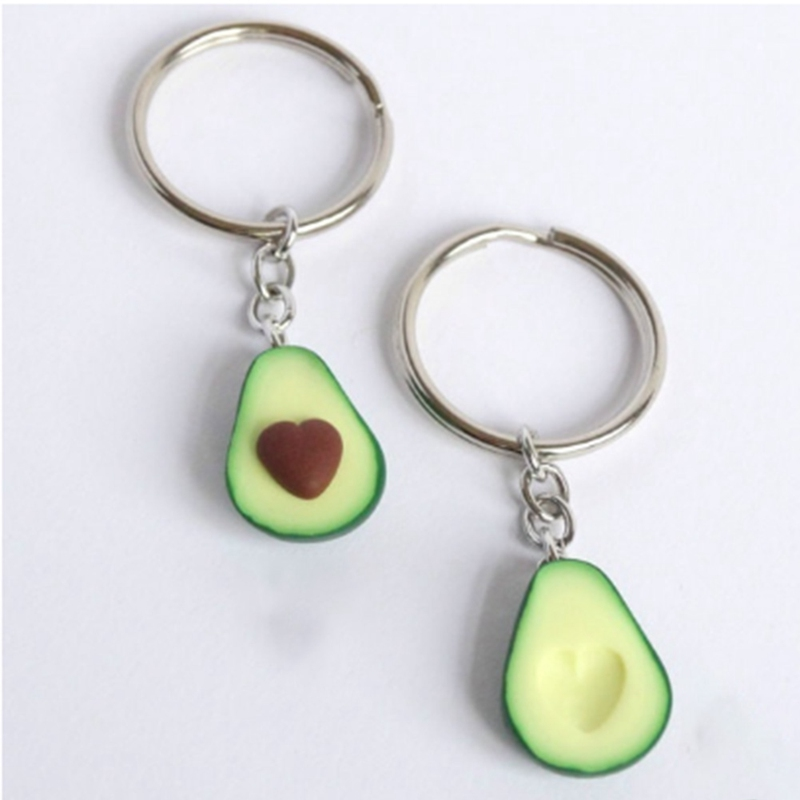 Ceramic Keychain Jewelry Fruit Heart-Shaped Avocado Handmade Soft Cute Three-Dimensional