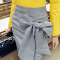 Autumn Winter Women's Elegant Bows Back Zipper Pack Hip Midi Skirts High Waist Skirts Sexy Thigh Split Plaid Skirt For Women