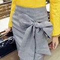 Otoño Invierno de Las Mujeres Elegantes Arcos de Vuelta Cremallera Paquete Hip Midi faldas de Cintura Alta Faldas Sexy Muslo de Split Falda A Cuadros Para mujeres