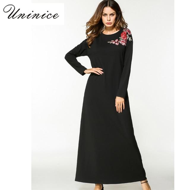 9a6219a6829ae Musulman Abaya Maxi Robe Broderie Coton À Manches Longues Robe Lâche Style  Islamique Vêtements Moyen-