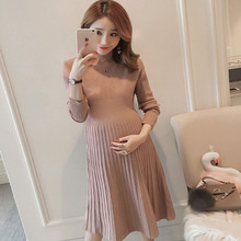 Осенне-зимний свитер с длинными рукавами, стрейчевое платье, эластичный для беременных, Одежда для беременных женщин