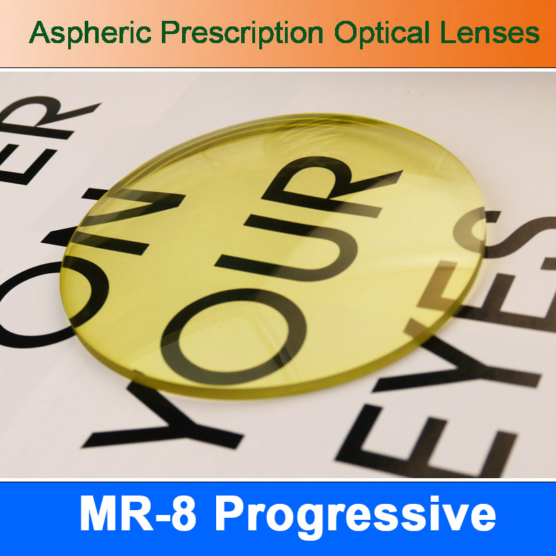 MR 8 Super Tough Tinted Progressive Aspheric Prescription Lens Eyeglasses Optical Lenses for Diamond Cutted Rimless