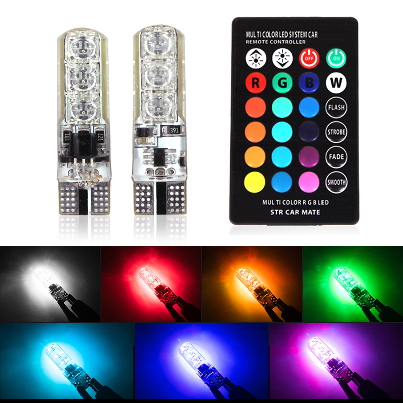 1 Set 5050 SMD RGB LED T10 W5W Car Interior Dome Reading Lights Parking Clearance Light For Ford Lada Toyota Mazda Hyundai Kia 2x t10 w5w 168 194 smd 6 led 5050 remote control rgb car reading wedge lights for car tail light side parking door lighting