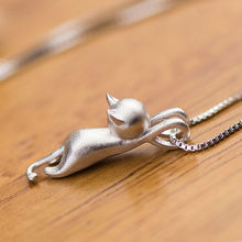 Graceful Silver Plated hanging cat Necklace / Pendant