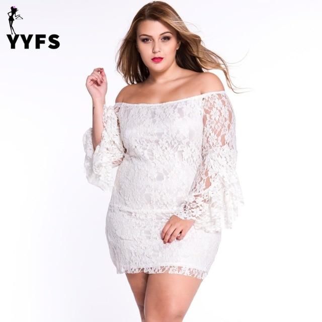12f8b1e8469b Plus size women lace bodycon dress sexy off shoulder slash neck long flare  sleeve tassel sheath dreeses short white black