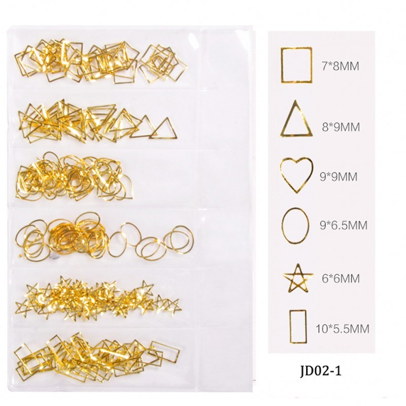 1 Pack Gold Metallic Mix Multi-shaped Studs Frames Roud/ Heart/ Triangle Alloy Rivets Nail Art Gems DIY Decorations JD-02