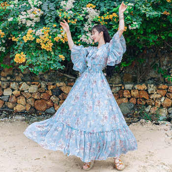 Free Shipping Boshow 2019 New Fashion Autumn Spring Elastic Waist Long Maxi Ruffles Sleeve S-L Pink Chiffon Print Flower Dresses - DISCOUNT ITEM  15% OFF All Category
